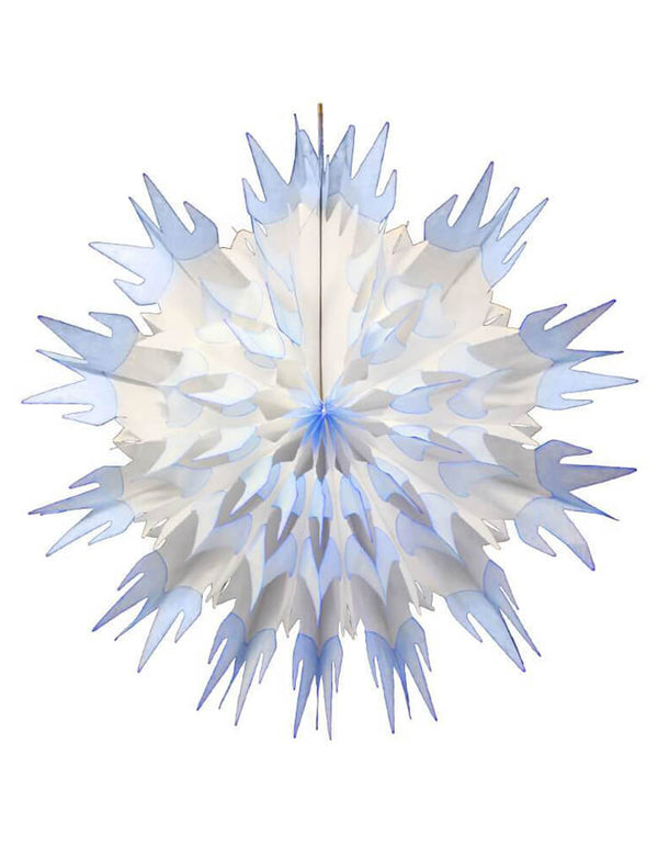 Devra Party Blue & White Tissue Paper Snowflake Decoration. 27 inch, Made in the USA. This paper fan is made from high quality tissue paper and have a looped hanging string attached, is the perfect addition to your event decor, cake table background, or photo backdrop. Hang them from the ceiling, or attach them to your wall. Decorate your Frozen or Winter Wonderland themed party with this beautiful snowflake paper decoration