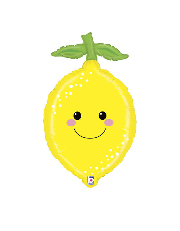 "Betallic Produce Pal 29"" Lemon Foil Mylar Balloon for SMILEY LEMONADE Summer Birthday Party, Tutti Frutti party, baby shower party"