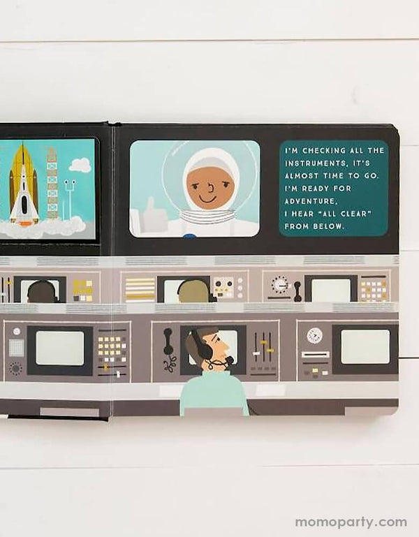 inside page of 3-2-1 Blast Off!: A Journey to Our Solar System Board book. This lift the flap book by kevin & haily meyers. Take your little one on a journey through space! In this oversized illustrated lift-the-flap board book, toddlers embark on a journey through space. They'll visit the moon, the International Space Station, and Earth's neighbors in the solar system, seeing the Mars Rover, Jupiter's Red Spot, Saturn's rings, and more before coming safely back to their own beds