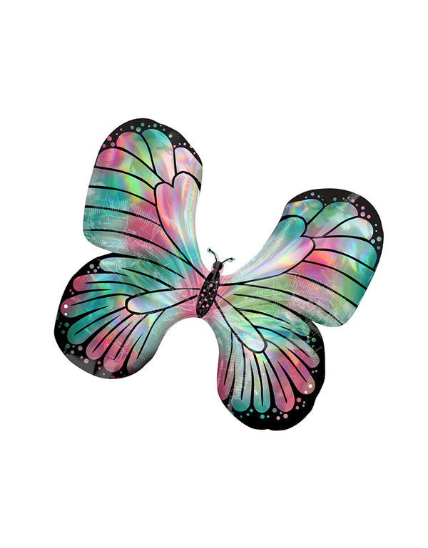 "30""_Iridescent-Teal-&-Pink-Butterfly-Foil-Balloon_Butterfly Party Ideas"