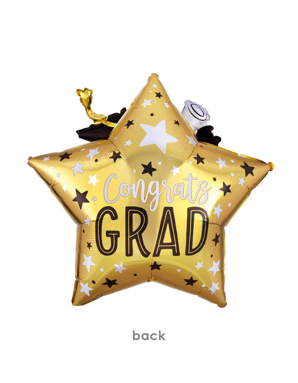 "Back of Anagram Balloons - 39338 Grad Star, Cap & Diploma Multi-Balloon XL® P47. Make the star of the party smile by getting them this Giant 3D Congrats Grad Star Graduation Balloon! The back of this foil balloon also comes in a gold finish and features a black, silver, and white star pattern all over it. ""Congrats Grad"" is printed in black and white text in the middle."