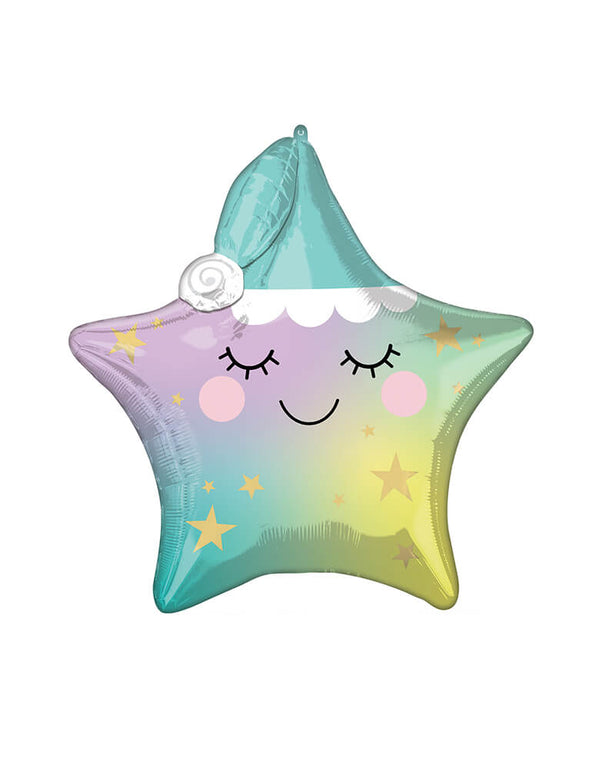 "Anagram Balloons - 41548-sleepy-little-star. Accent your baby shower themed party with this 35"" star shaped Sleepy Little Star foil mylar balloon. This balloon is perfect for a sweet baby shower or a twinkle twinkle little star themed party!"