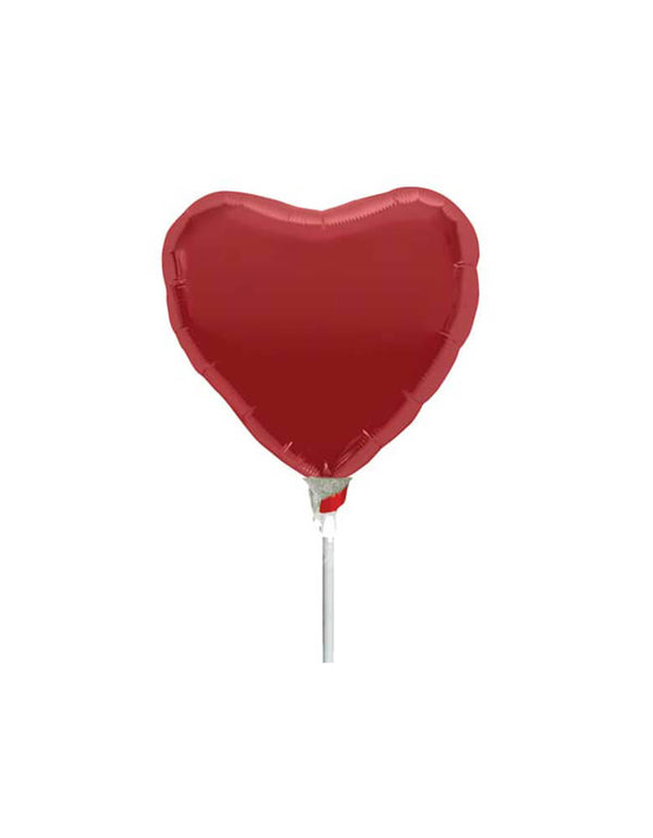 "Air-filled 9"" Rose Red Heart Foil Mylar Balloon"