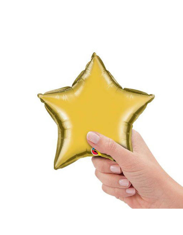 Qualatex Balloons - 9″ Mini Star Shaped Foil Balloon in Metallic Gold color with in hand holding it