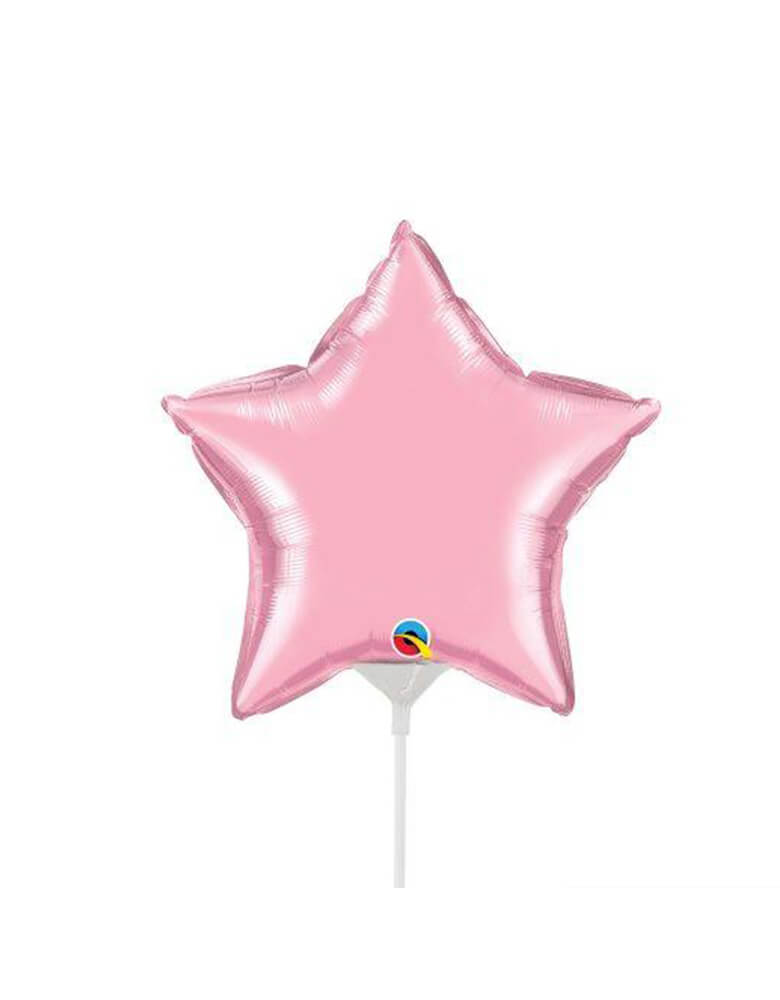 Qualatex Balloons - 9″ Mini Star Shaped Foil Balloon in Pearl Pink color