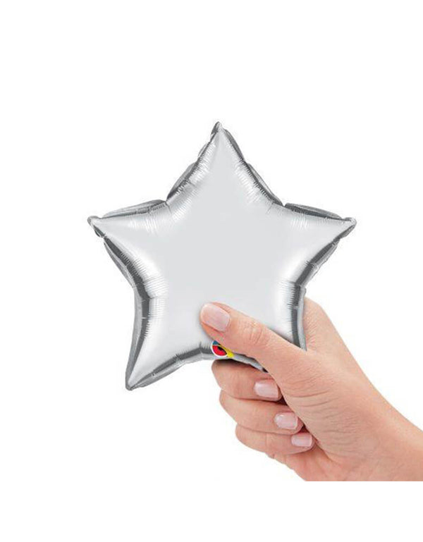 Qualatex Balloons - 9″ Mini Star Shaped Foil Balloon in Silver color with hand holding it