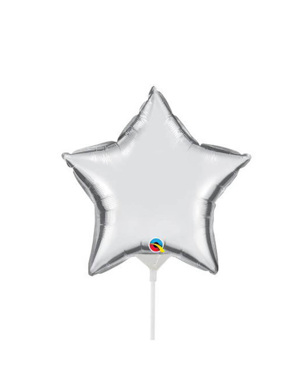 Qualatex Balloons - 9″ Mini Star Shaped Foil Balloon in Silver color