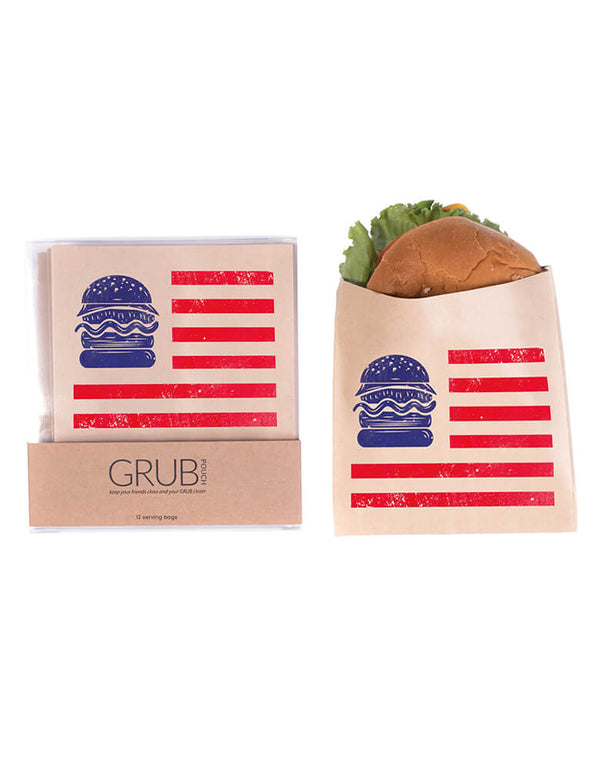 All American Grub Pouches by Boston International. Pack of 12. This set of kraft pouches are perfectly sized for your hamburgers. Serve your burgers up nice and warm with these unique pouches at your 4th of July party or a summer BBQ gathering!