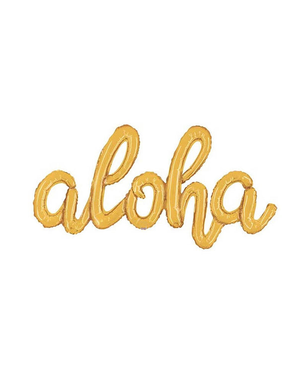 "Betallic 41"" Aloha Gold Script Letter Foil Balloon for A tropical Moana luau themed party"