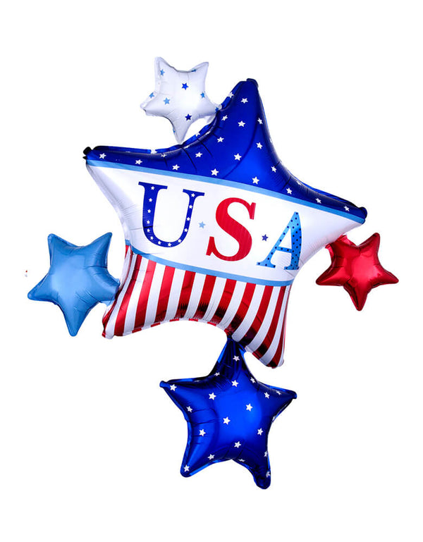 Anagram Balloons - 24991 American Classic Star Cluster SuperShape™ XL® P40. Add this amazing 32 inches American classic star cluster foil balloon with big star in the middle of american flag pattern and USA words, and small stars around it to your 4th of July party!