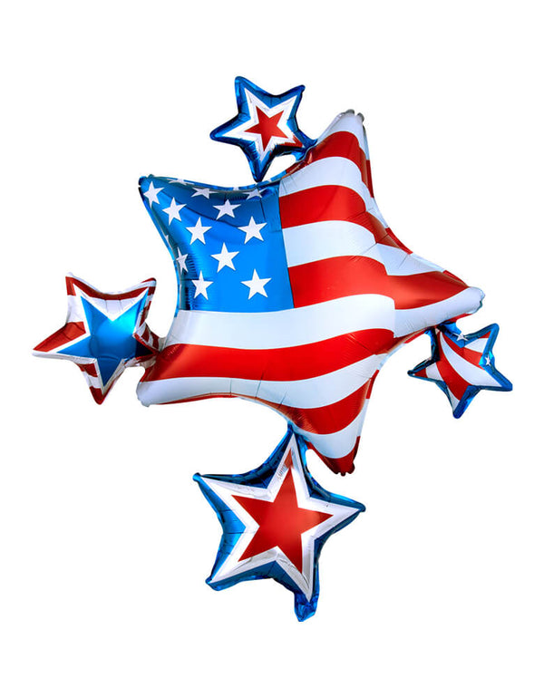 Anagram Balloons - A111320 American Spirit Cluster SuperShape™ XL® P40. American Spirit Cluster Shaped Foil Balloon. Featuring  star clusters with american flag, blue and red stripes, american flags. Add this amazing American spirit cluster foil balloon to your 4th of July party