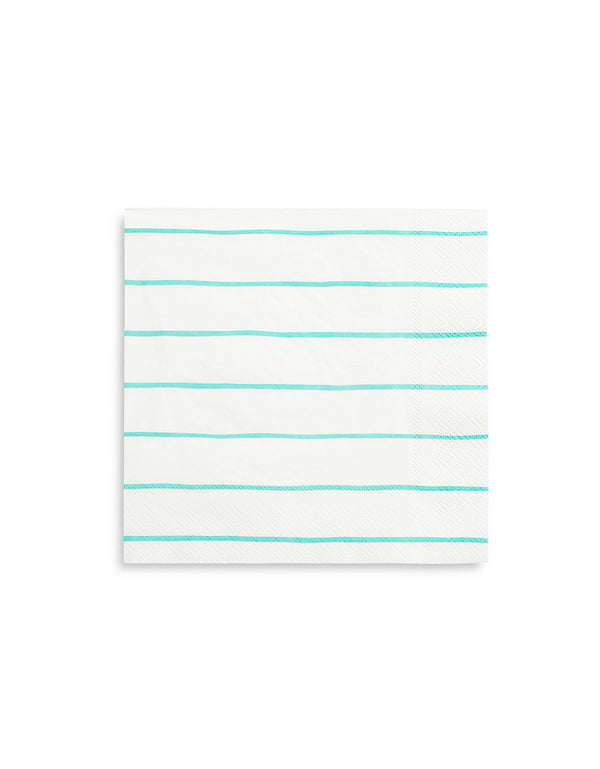 "Daydream Society Frenchie 6.5"" Aqua Striped Large Napkins"