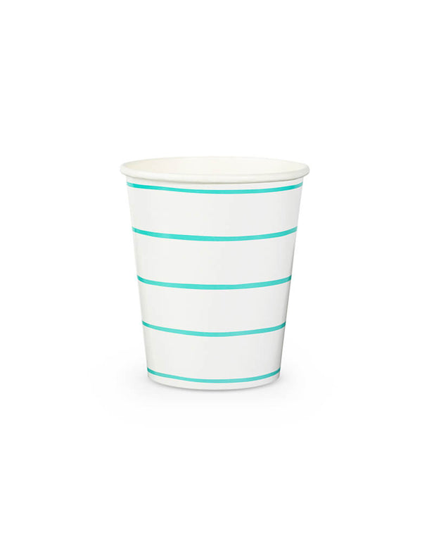 Daydream Society Frenchie Stripes Aqua Striped Cups