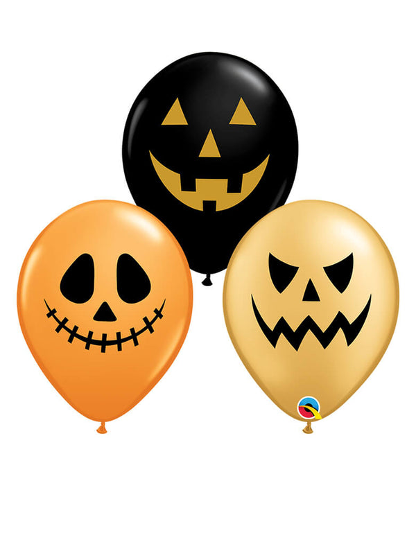 Qualatex 36 inch Halloween Assorted Jack Faces Latex Balloon Mix with 3 different faces on a black, orange and gold latex balloons. Adding this latex balloon mix along with Halloween Balloons or bring the ballon itself to with you for trick-or-treating, or decorating for your halloween party, trick-or-treat Halloween party, Haunted House Birthday Party