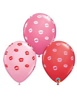 "Qualatex 11"" Assorted Kissey Lips Latex Balloons in red, pink and hot pink for Valentine's Day"