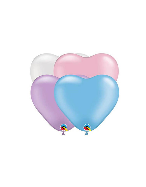 "Assorted 6"" Mini Pearl Heart Shaped Latex Balloon Mix featuring pearl pink, pearl blue, pearl lavender and pearl white in heart shaped"