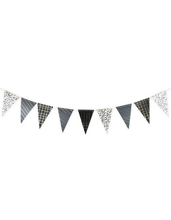 "True brand Cakewalk party - Assorted Noir Pattern Garland, 8 ft long, includes 10 Pre-strung 7"" paper flags"