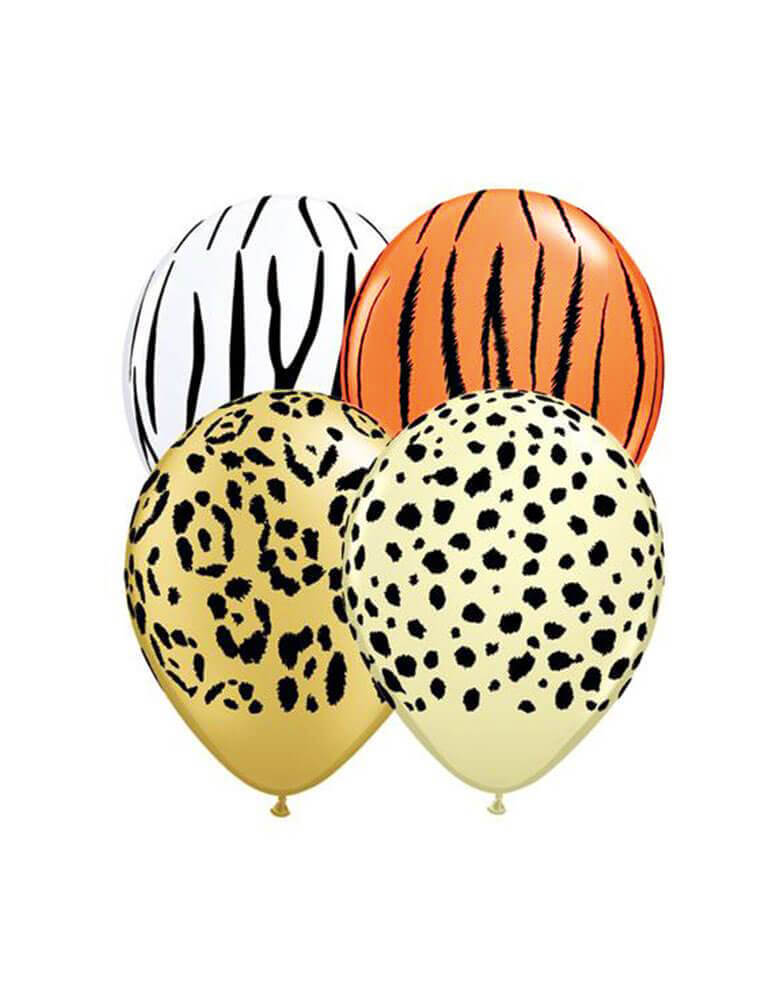 "Brand: Qualatex Balloon.  Assorted 11"" Latex Balloon Mix including leopard, tiger, zebra and cheetah print latex balloons. Set of 12"