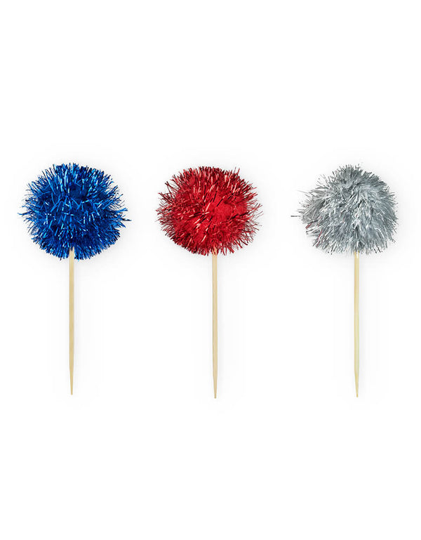 True brand Cakewalk party  - Assorted Shine Bright Treat Picks (Set of 12). These shine bright festive treat picks in Red, White & Blue are perfect for a 4th of July party or any patriotic celebrations!