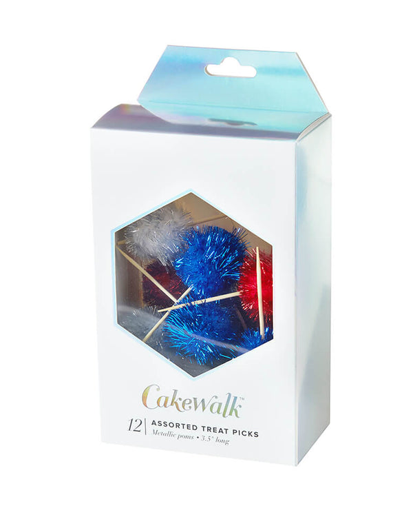True brand Cakewalk party - Assorted Shine Bright Treat Picks in a front clear paper box. These shine bright festive treat picks in Red, White & Blue are perfect for a 4th of July party or any patriotic celebrations!