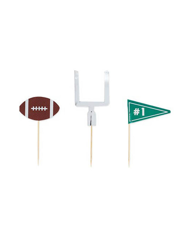 "Cakewalk 3"" Assorted Tailgate Treat Picks. Pack of 12 paper picks with 3 designs of American Football, #1 green flag, and Goal. there are perfect for a football viewing, Super Bowl or tailgate party!"