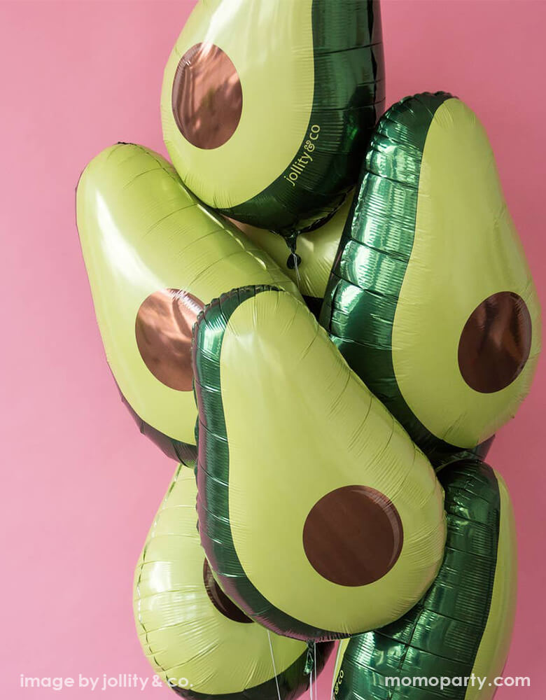 Jollity & Co. 30 inches Avocado Foil Mylar Balloon. perfect for setting behind the taco bar, celebrating Cinco de Mayo or hosting a fiesta-themed birthday party