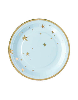 "My Minds Eye Baby Blue Star Large 9"" Plates featuring gold stars - Set of 12"