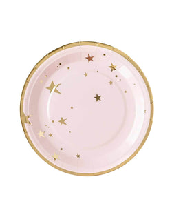 "My Minds Eye 9"" Baby Pink Stars Plates with Gold Star Detail"