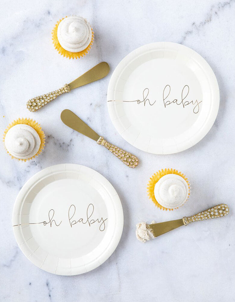 "Beautiful Baby shower tablescape with My Mind Eye's Oh Baby 7"" Basic White Small Plates with Gold Foil"