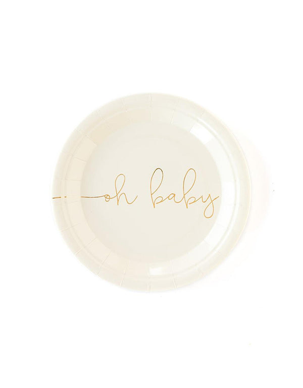 "My Mind Eye Oh Baby 7"" Basic White Small Plates with Gold Foil"