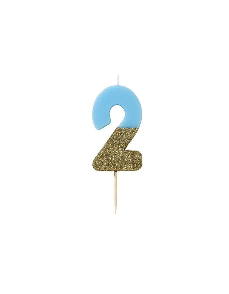 Talking Tables - We Heart Birthday Blue Glitter Candle - Number 2 Candle in Blue and Gold Glitter
