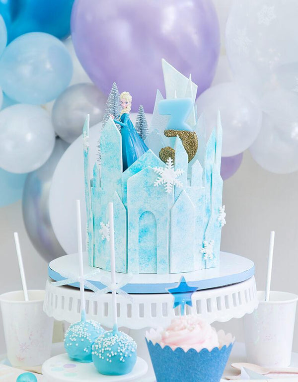 Talking Tables -  We Heart Birthday Glitter Number Candle Blue number 3 on a Frozen Themed icy castle cake with Elsa Princess figure toy for a 3 years girl's birthday