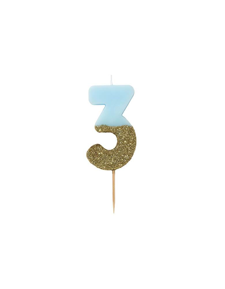 Talking Tables - We Heart Birthday Blue Glitter Candle - Number 3 Candle in Blue and Gold Glitter