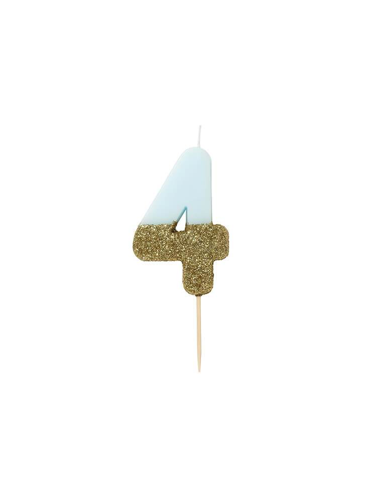 We Heart Birthday Blue Glitter Candle - Number 4 Candle in Blue and Gold Glitter
