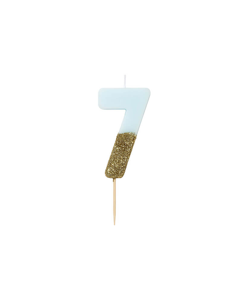 We Heart Birthday Blue Glitter Candle - Number 7 Candle in Blue and Gold Glitter