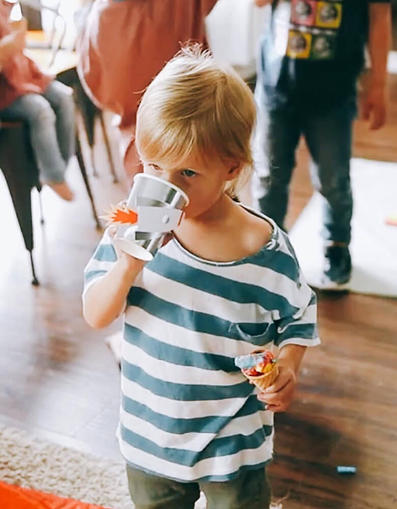 boy drinking with  To The Moon Rocket Cups