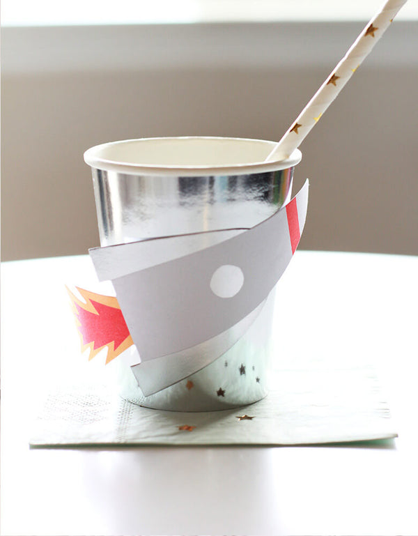 Meri Meri To The Moon Rocket Cup with Star straw and napkin