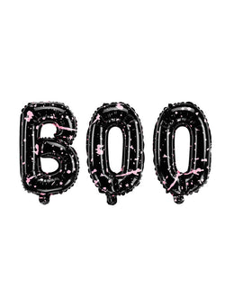 Party Deco - BOO Letter Foil Balloon Set. Designed with pink splattered on the black! each letter is about 25 x 14 inches. This Boo letter balloon set is perfect for a cutesy Halloween party, a kid-friendly modern spooky halloween party, trick-or-treating halloween party, nightmare before christmas party, witch themed party and all halloween related celebrations