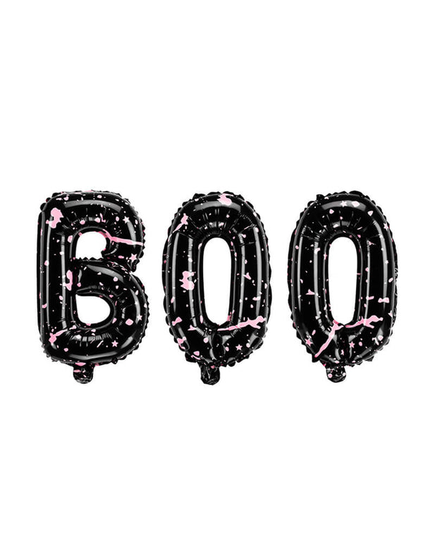 Party Deco - BOO Letter Foil Balloon Set. each letter is about 25 x 14 inches, Black Balloon with spotted Pink color for a special unique halloween party.