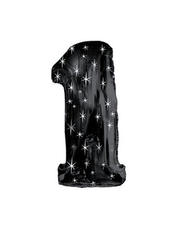 "38"" Black Sparkle One Jumbo Number Balloon for one year birthday"