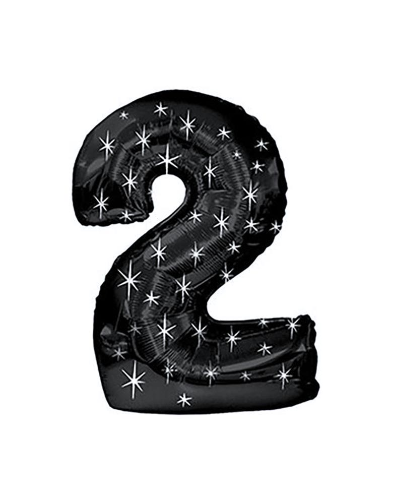 "38"" Black Sparkle Jumbo Number Balloon #2 for kids space party_Two The Moon Party Ideas"