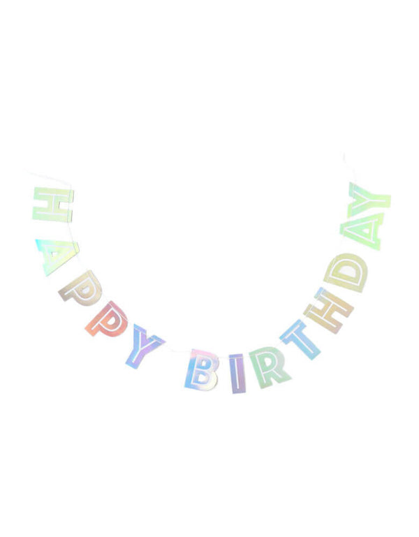 Happy Birthday banner in a shimmery foil accent style