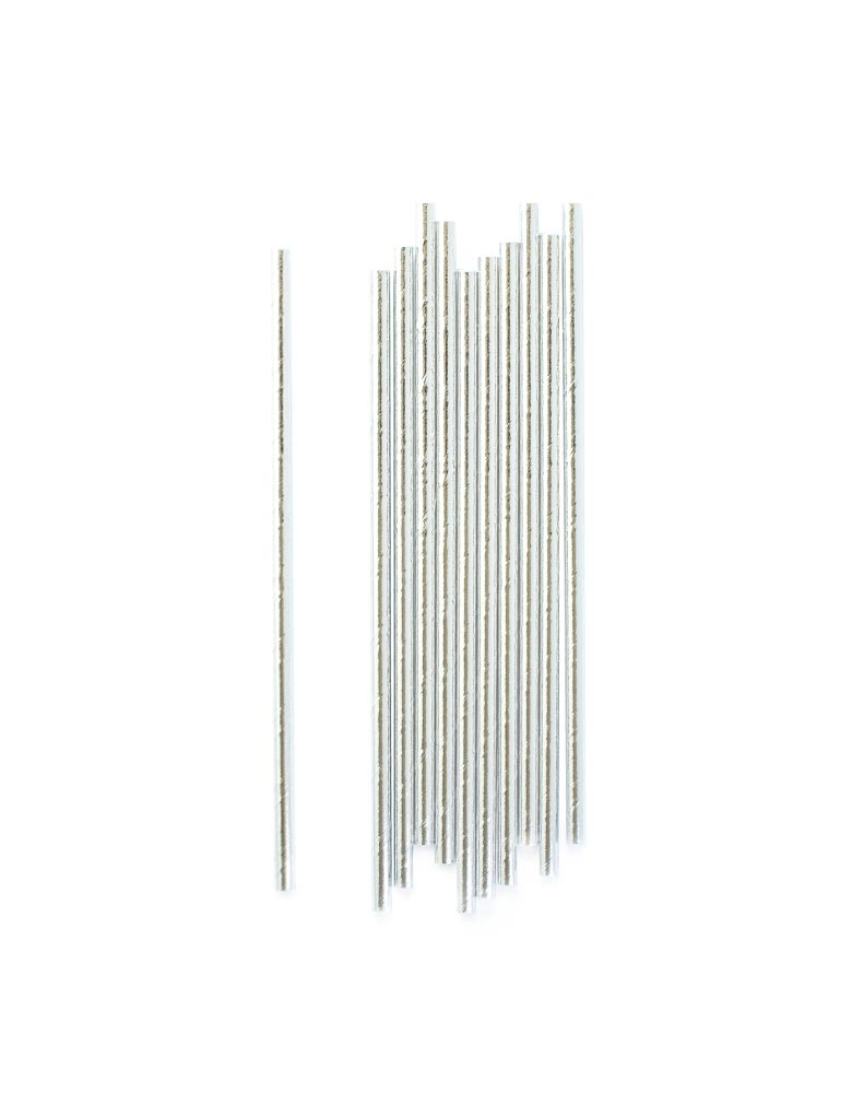 Silver Foil Party Straws (Set of 24)