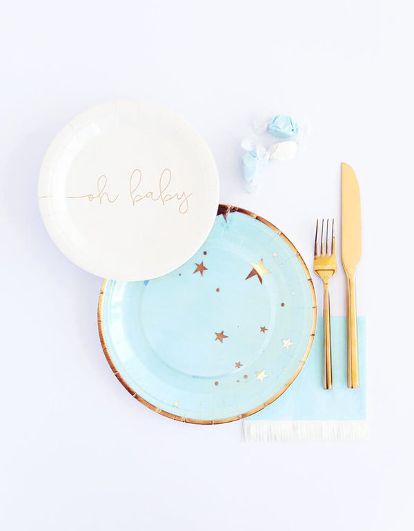 "My Minds Eye Baby Blue Star Large 9"" Plates with Oh Baby 7"" Plate and Baby Blue Fringe Napkins for an adorable baby boy shower table"