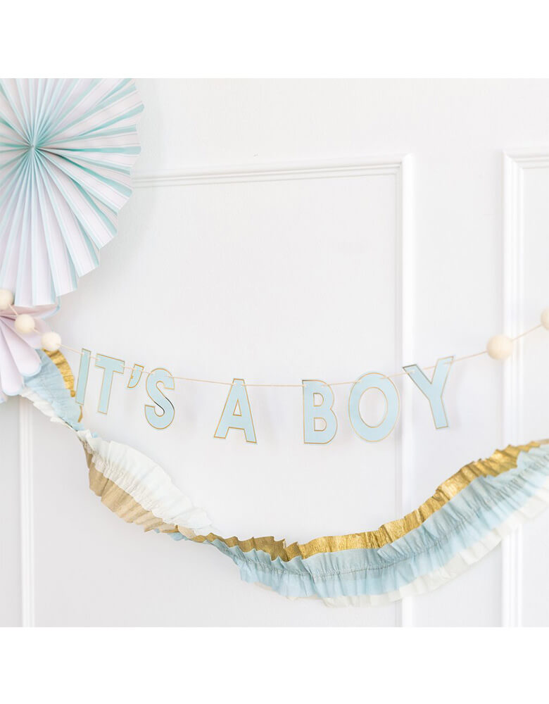 My Mind's Eye Baby Blue Banner hung on the wall in a boy baby shower
