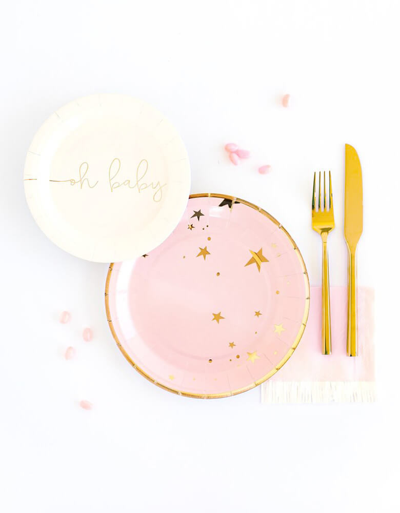 "My Minds Eye Baby Pink Star Large 9"" Plates with Oh Baby 7"" Plate and Baby Pink Fringe Napkins for an adorable baby girl shower table"