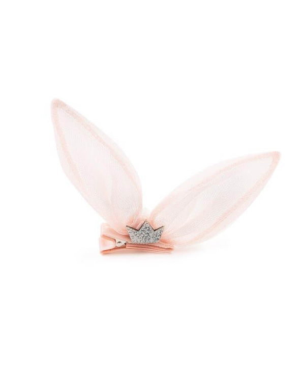 Baby Pink Bunny Ear Hair Clip. Featuring silver crown in the front and a bunny tail on the back. Made with quality tulle, it's easy to put on, especially for little babies that don't like to wear headbands.  it's perfect for your little baby princess and Easter celebration