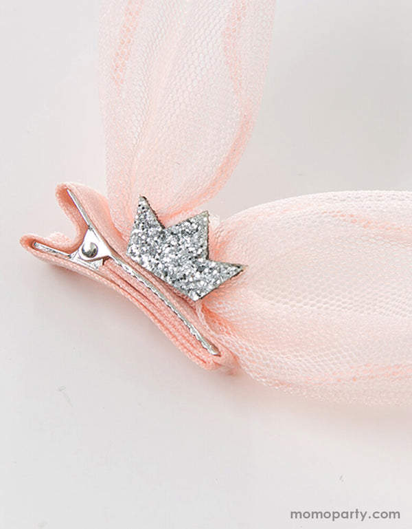 Close details the glitter silver crown of Baby Pink Bunny Ear Hair Clip. Made with quality tulle