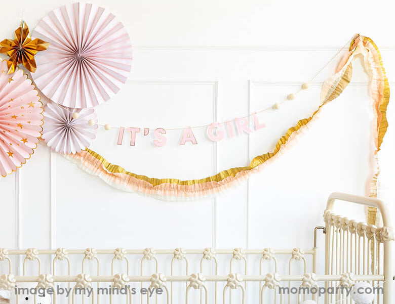Baby Pink/Cream/Gold Crepe Festoon