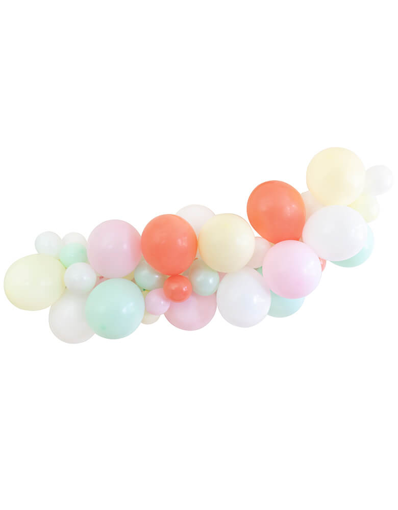 "Assorted 11"" (large) & 5"" (small) latex balloons garland kit in coral, matte pastel mint, matte pastel pink, matte pastel yellow and standard white, design for a modern back to school themed celebration"
